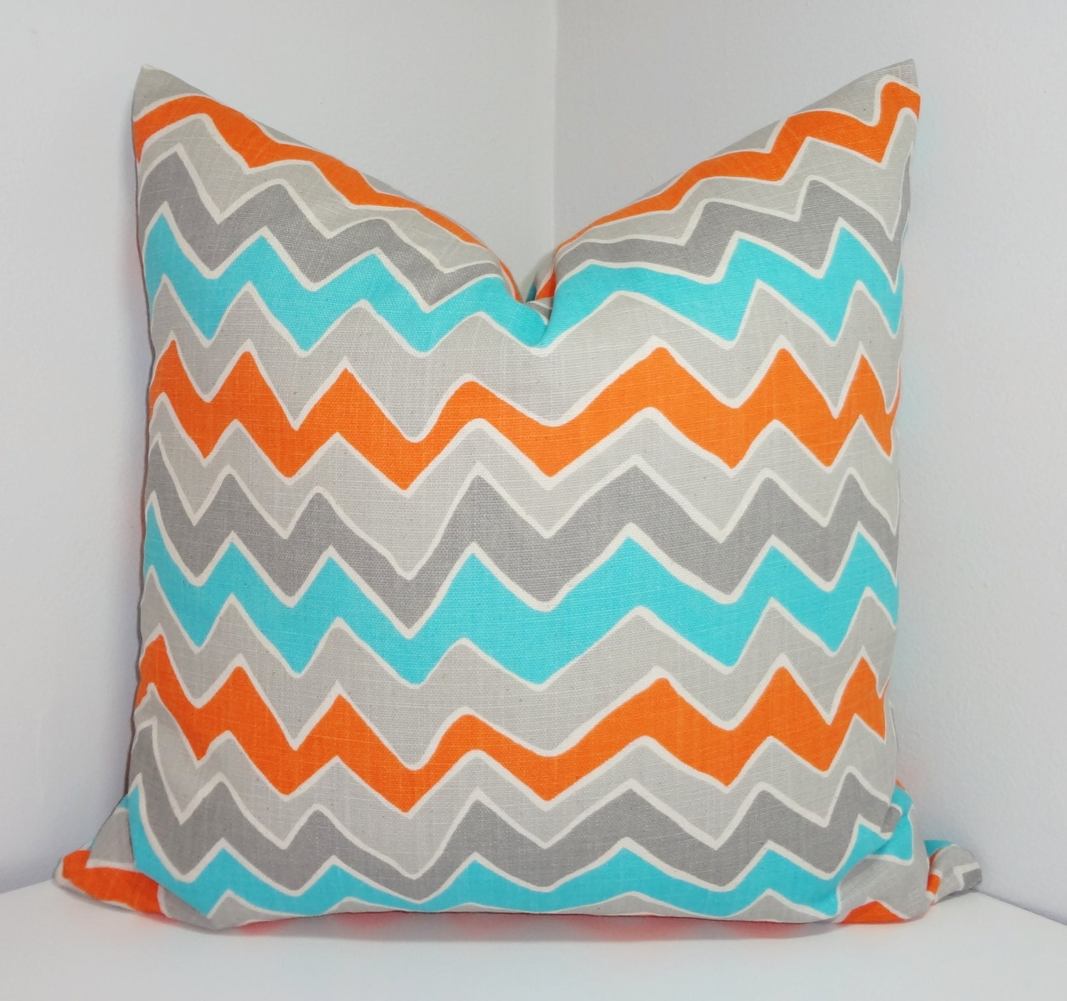 turquoise blue grey orange chevron pillow cover by homeliving. Black Bedroom Furniture Sets. Home Design Ideas