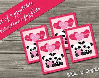 INSTANT DOWNLOAD Kids Valentines Cards (Set of 4 You're Beary Special Design) DIY Printable