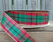 "Christmas Wired Ribbon 1 1/2"" Green, Red and Gold Metallic Plaid - THREE YARDS - ""Splendor #9 ' Tartan Craft Wire Edged Ribbon"