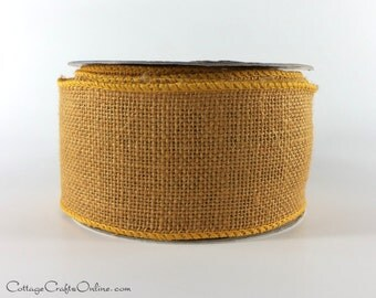 """Burlap Wired Ribbon, 2 1/2"""" Russet Brown Gold - TEN Yard Roll - Offray,  Jute, Halloween, Fall, Thanksgiving Wire Edged Ribbon"""