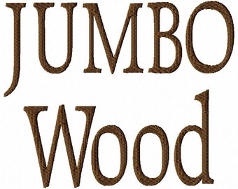 "JUMBO Wood Machine Embroidery Font - 4 Sizes - 5"",6"",7"" and 5x7 Hoop Choice - Buy 2 get 1 FREE"