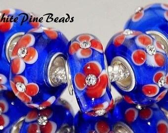 MURANO Lampwork GLASS BEADS European Style Charm Bracelets  European Charm BraceletWhitePineBeads  917
