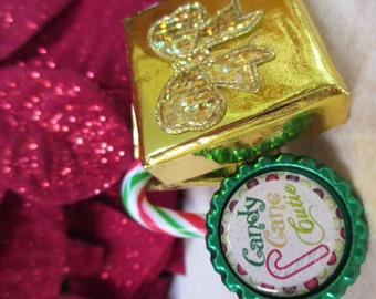 Christmas Candy Cane Cutie Adjustable Bottle Cap Ring