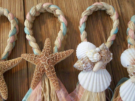 Beach Aisle Decorations, Beach Pew Bows, Starfish and Raffia Chair Hangers, Beach Wedding, Pick your Ribbon, Destination Wedding, Seashells