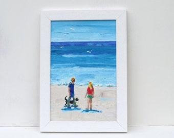 Summer Oil Painting. Summertime on the Beach.   12 x 10
