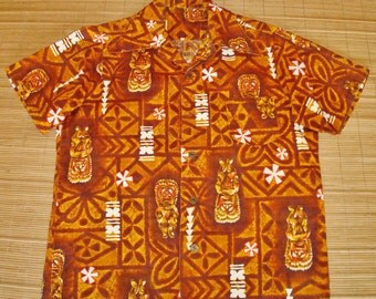 Mens Vintage 60s Hawaii Tiki Idol Hawaiian Aloha Barkcloth Shirt - L - The Hana Shirt Co