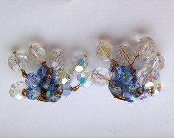 Vintage Crystal Aurora Borealis Earrings in Blue and Clear - Pastel Pale Sky Powder Blue - Stud Back Earrings