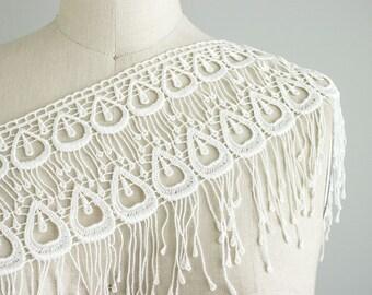 Mallory White Peacock Style Venetian Lace Fringe Trim / Large Venise Lace Fringe Trim / Bridal Lace / Wedding Dress Lace / Bird Costume Lace