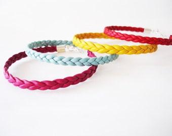 Braided leather bracelet, Stacking bracelet, Summer bracelet, Back to school bracelet, Leather rope bracelet, Magenta, Mint, Yellow, Red