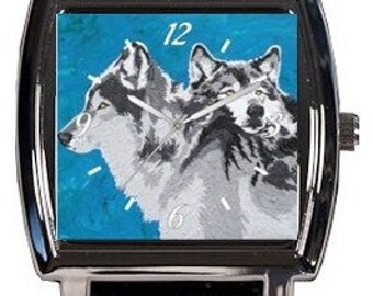 Wolf Wrist Watch - Vegan Watch - Comes in Tin - SALE  - From My Painting, Spirited Pack