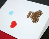 Firefly/Serenity Letterpress Card - Kaylee's Overall Patches - Teddy Bear, Heart, Flower