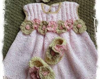 knitted new baby girl gift, baby shower gift, knitted dress, pink and gold girl