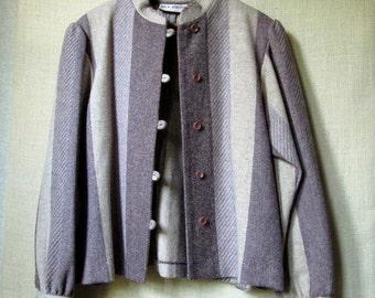 Short Cropped Jacket boho hipster lightweight wool brown tan mauve striped tweed neutrals mori girl vintage 70s Jack Winter women medium