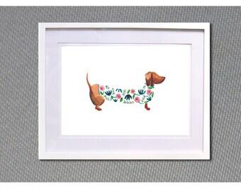 """Dachshund poster A4 Watercolour print """" Dog n floral"""""""