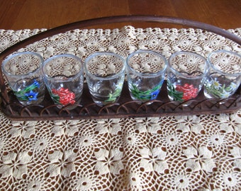 Set of Six Shot Glasses With Tray