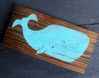 Hand painted Whale on Reclaimed Wood