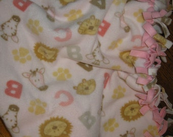 Alphabet and Animal No Sew Baby Blanket