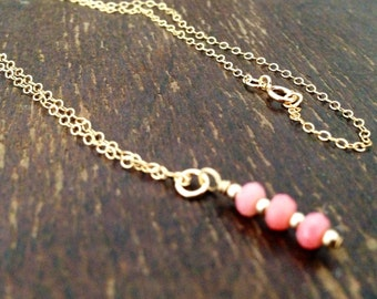 Pink Coral Necklace - Gold Chain Jewelry - Pendant Jewellery - Gemstone - Dainty