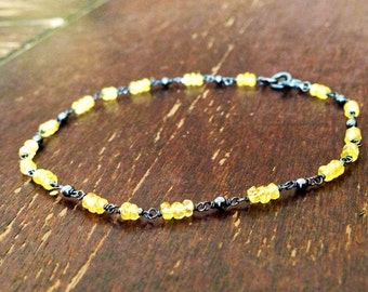 Yellow Sapphire Bracelet - Oxidized Sterling Silver - Everyday Bracelet - Gemstone Jewelry