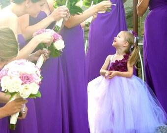 Flower girl dress. Gorgeous Plum Hydrangeas and Lavender TuTu Dress.Eggplant flower tutu dress.Lavender tutu dress wedding.flower girl dress