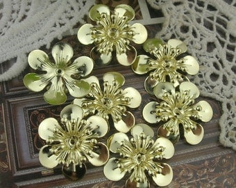 12 pcs Gold Plated Flower Filigree Charms,20mm