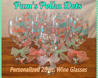 16 Personalized TALL WINE GLASSES Name Initial Polka Dots great for Birthdays Bride Bridesmaids Bachelorette Wedding Party or Anyone 20 oz.