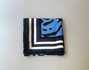 Vintage Anne Klein Silk Scarf - Black / White / Blue Lions