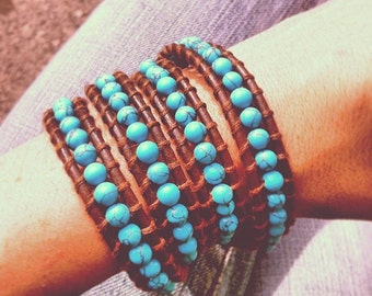 Four Layered Turquoise Beaded Brown Leather Bracelet Wrap