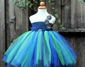 Peacock Theme Wedding - Designer Halloween Costume - Peacock Flower Girl, peacock theme party, peacock tutu Dress, Mardi Gras Tutu Dress