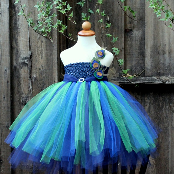 Peacock Wedding Flower Girl Dress