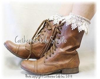 LACY DAISY Oatmeal Lace Socks lace boot socks boot socks combat boot socks  womens boot socks cowboy boots Catherine Cole Studio SLXC3