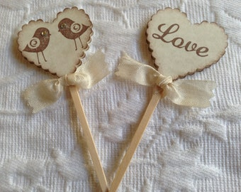 Love Bird Cupcake Picks - Love Cupcake Toppers - Heart Cupcake Toppers Picks - Wedding Bridal Shower