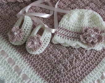 Crochet Baby Blanket / Afghan, Hat  and Booties Dusty Pink with Cream ,Christening, Baby Girl, Gift