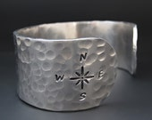 Silver Compass Bracelet -  Not All Who Wander Are Lost