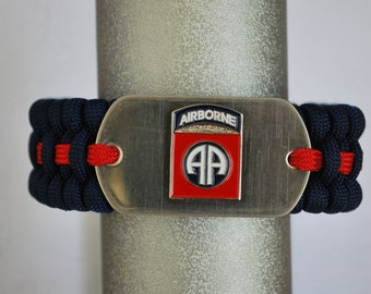 """Paracord Survival Bracelet - Midnight Blue Paracord & 82nd Airborne Dog Tag- with 5/8"""" Buckle"""