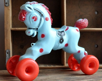 SALE 20% OFF! Mold Blown Pony Pull Toy - Empire Plastic