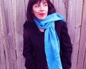 Organic Bamboo and Cotton Fleece Scarf. Turquoise. Suuuper soft! Sustainable materials.