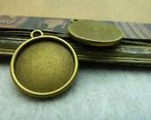 30pcs 16mm Antique Bronze  Cameo Cabochon Base Setting Tray Blanks Pendants Charm Pendant C5720