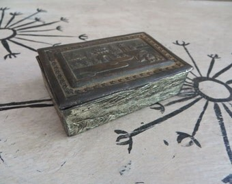 Metal Wrapped Box Jewelry Box Made in Japan Elephants Oriental Box Oriental Tin Antique Box