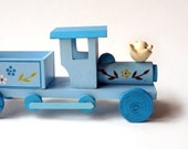 Blue wooden toy truck, Baby blue boy nursery decor car or train with flowers