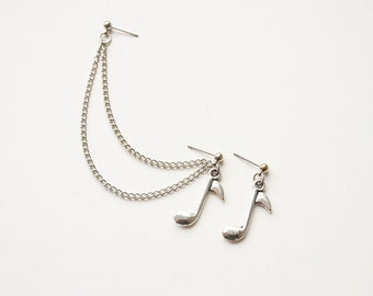 Silver Music Note Cartilage Earring (Pair)