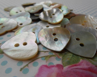 Buttons Heart Natural Mother of Pearl 6pcs