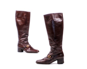 Vintage 1970's Saks Fifth Ave Tall Dark Brown Leather Campus Knee High Boots 9 M