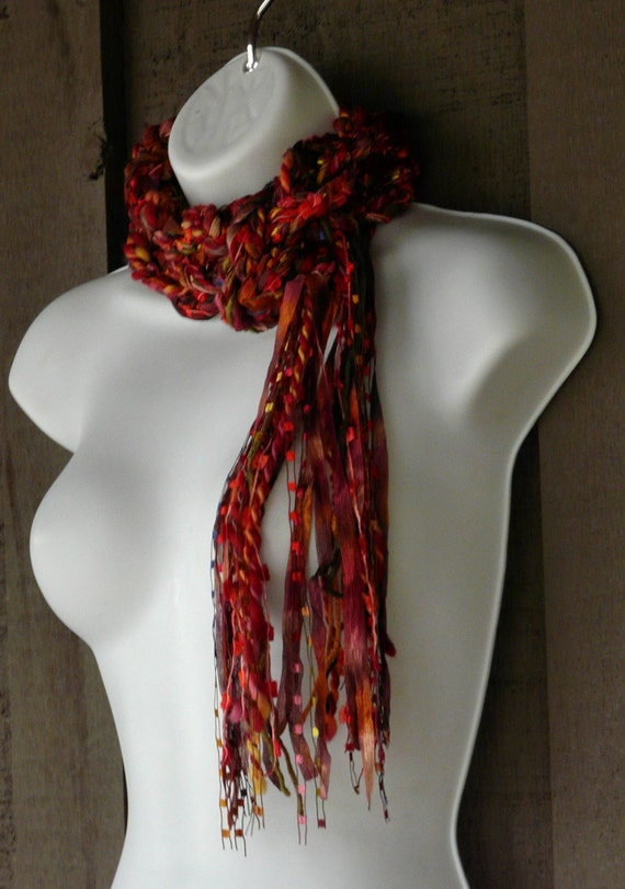 The Gypsy Braided Skinny Scarf - Red Hot Chili - in shades of Red, Pink, Purple, Orange, Bronze, Gold and more