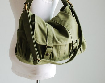 New Year SALE 40% - Green, School Bag, Shoulder Bag, Messenger Bag, Diaper Bag, Women, Canvas School bag, crossbody bag, Handbag