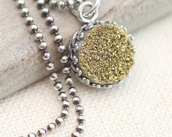 Druzy Necklace,  Gold Druzy Necklace, Sterling Silver Druzy Necklace, Druzy Cabochon Necklace