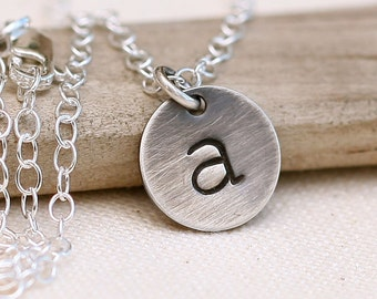 Initial Necklace, Rustic Personalized Necklace, Personalized Bridesmaid Gift, Mother's Necklace, Sterling Silver Necklace