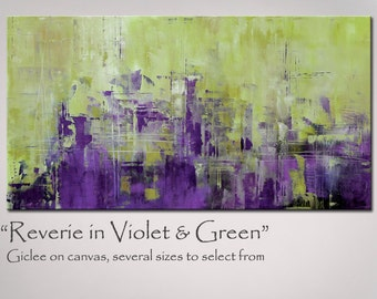 Painting Abstract Art, Abstract Art Purple and Green, X Large 48x24