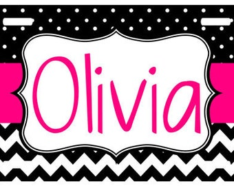 Personalized  License Plate, Monogrammed Chevron License Plate, Personalized Car Tag, Vanity Plate