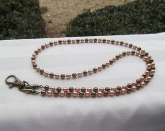 Brown Peach ID Badge Lanyard Swarovski Pearl Beaded Lanyard Rose Peach and Antique Brass Lanyard Necklace ID Badge Holder